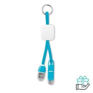 Sleutelhanger USB C micro turquoise bedrukken