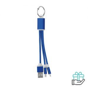 Sleutelhanger oplaadkabel micro USB C koninklijk blauw bedrukken