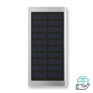 Solar PowerBank 8000mAh mat zilver bedrukken