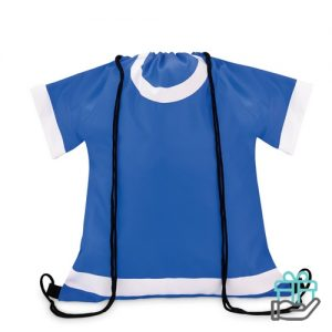 Sportevent rugzakje T-shirt model koninklijk blauw bedrukken