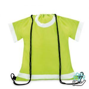 Sportevent rugzakje T-shirt model limegroen bedrukken