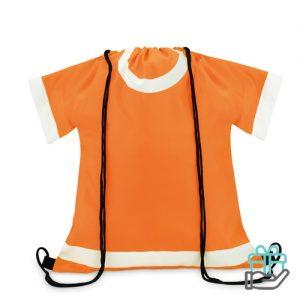 Sportevent rugzakje T-shirt model oranje bedrukken