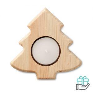 Theelichthouder kerstboom houtkleur bedrukken