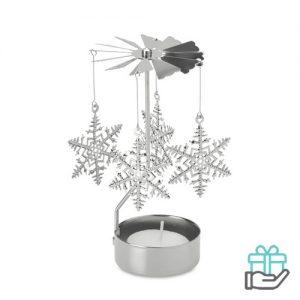Theelichthouder kerstmolen zilver bedrukken