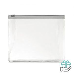 Toilettas PVC gekleurde rits transparant grijs bedrukken