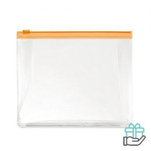 Toilettas PVC gekleurde rits transparant oranje bedrukken