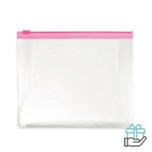 Toilettas PVC gekleurde rits transparant roze bedrukken