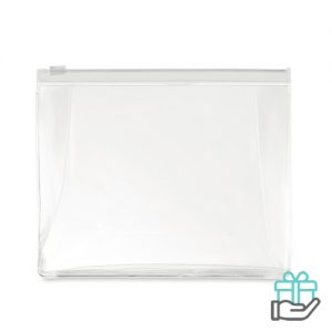 Toilettas PVC gekleurde rits transparant wit bedrukken