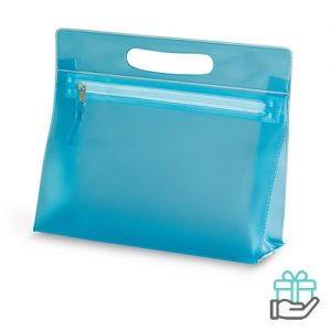 Transparante PVC toilettas blauw bedrukken