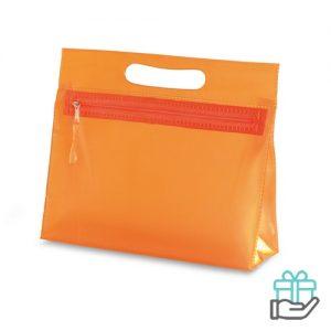 Transparante PVC toilettas oranje bedrukken