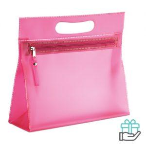 Transparante PVC toilettas roze bedrukken