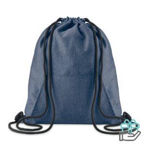 Trendy fleece rugzak trekkoord blauw bedrukken