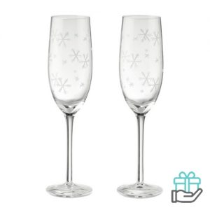 Twee champagneglazen transparant bedrukken
