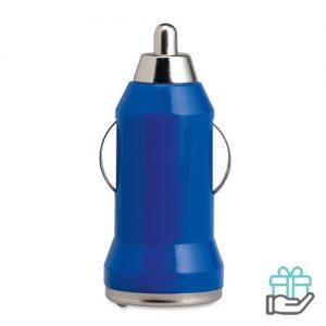 USB autolader ABS behuizing blauw bedrukken