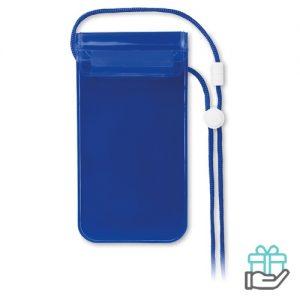 Waterdichte smartphonehoes PVC transparant blauw bedrukken