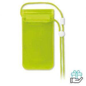 Waterdichte smartphonehoes PVC transparant groen bedrukken