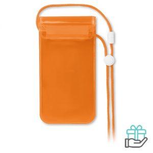 Waterdichte smartphonehoes PVC transparant oranje bedrukken
