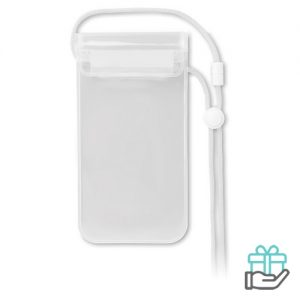 Waterdichte smartphonehoes PVC transparant wit bedrukken