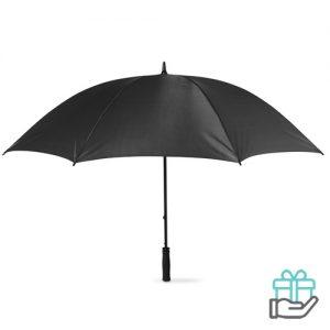 Windbestendige golfparaplu zwart bedrukken