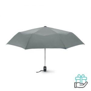 Windbestendige paraplu 21 inch grijs bedrukken