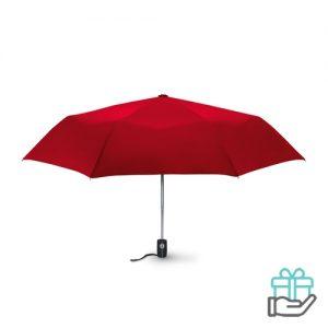 Windbestendige paraplu 21 inch rood bedrukken