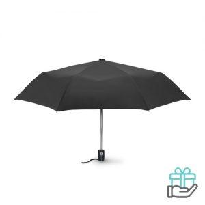 Windbestendige paraplu 21 inch zwart bedrukken