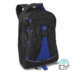 Zwarte Polyester rugzak blauw bedrukken