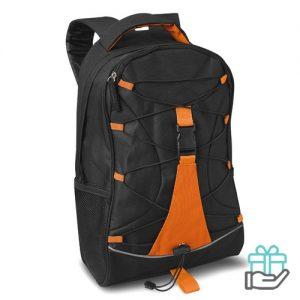 Zwarte Polyester rugzak oranje bedrukken