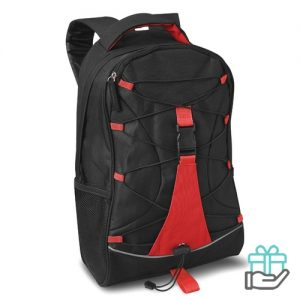 Zwarte Polyester rugzak rood bedrukken