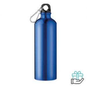 Aluminium fles 750ml blauw bedrukken