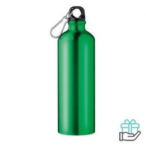 Aluminium fles 750ml groen bedrukken