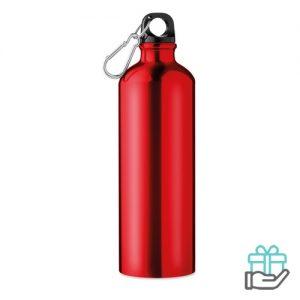Aluminium fles 750ml rood bedrukken