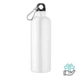 Aluminium fles 750ml wit bedrukken