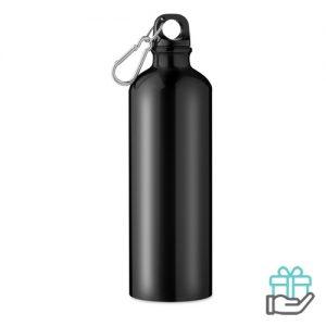 Aluminium fles 750ml zwart bedrukken
