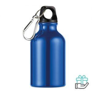 Aluminium fles karabijnhaak 300ml blauw bedrukken