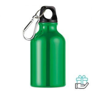 Aluminium fles karabijnhaak 300ml groen bedrukken