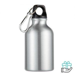 Aluminium fles karabijnhaak 300ml mat zilver bedrukken