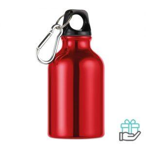 Aluminium fles karabijnhaak 300ml rood bedrukken