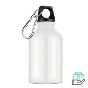 Aluminium fles karabijnhaak 300ml wit bedrukken
