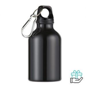 Aluminium fles karabijnhaak 300ml zwart bedrukken