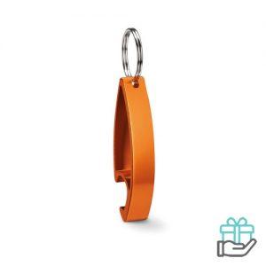 Aluminium sleutelhanger flesopener oranje bedrukken