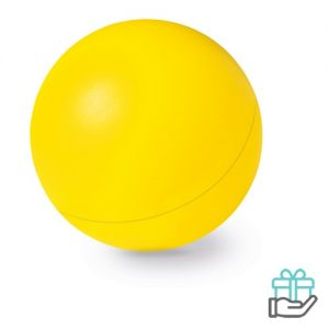 Anti-stress bal budget geel bedrukken