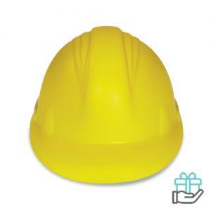 Anti-stress helm geel bedrukken