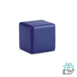 Anti-stress vierkant blauw bedrukken