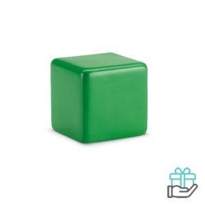Anti-stress vierkant groen bedrukken