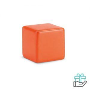Anti-stress vierkant oranje bedrukken