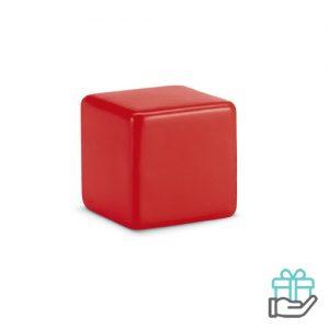 Anti-stress vierkant rood bedrukken