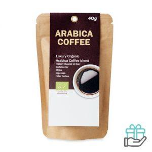 Arabica gemalen koffiebonen beige bedrukken