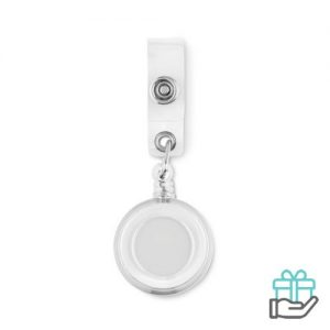 Badgehouder metalen clip transparant wit bedrukken