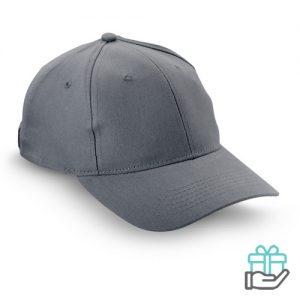 Baseball cap geborsteld katoen grijs bedrukken